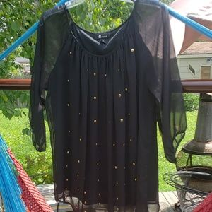 Sz M gold studded black blouse